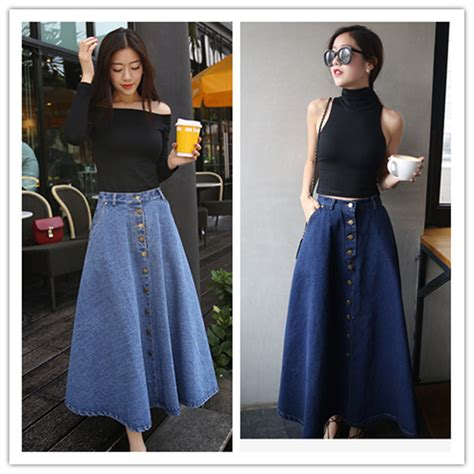 diy swing skirt jupe longue 2015 vintage front button denim long skirt