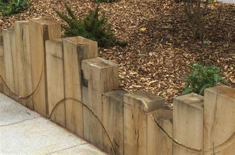 routed railway sleeper retaining wall