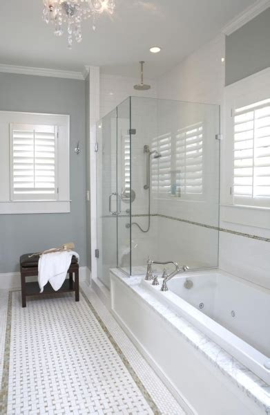 Marble basketweave floor transitional bathroom