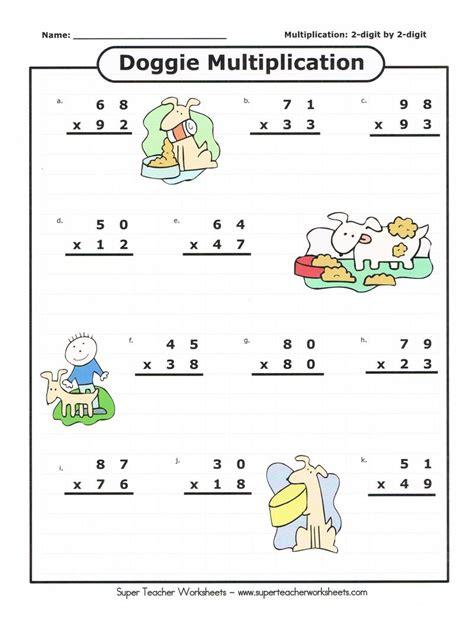 to two worksheets worksheet practice for 2 digit by 2 digit numbers kelpies