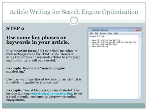 Search Engine Optimization Articles 5 article writing for search engine optimization
