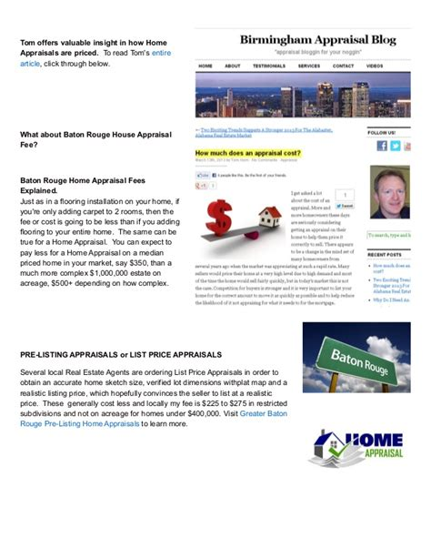 house appraisal cost how much does a baton rouge home appraisal cost