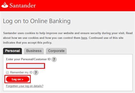 santander bank log on santander uk banking sign in login