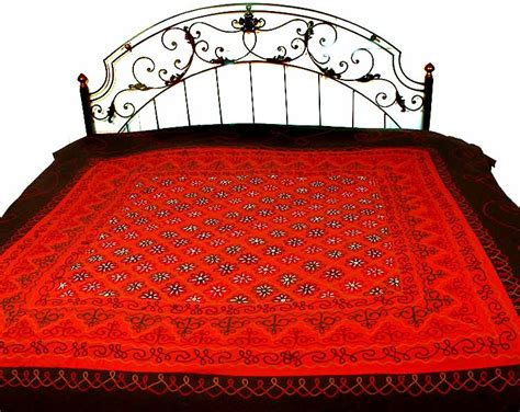 red quilts and coverlets red and black embroidered bedspread