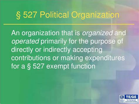 section 527 organization ppt breakfast with the irs powerpoint presentation id