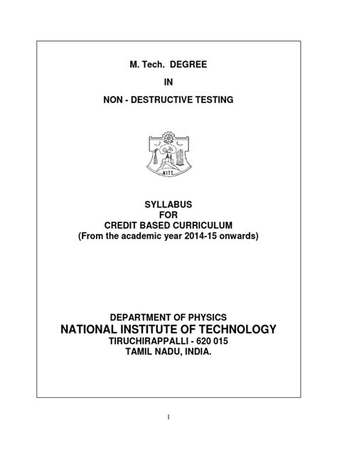 National Institute Of Technology: M. Tech. Degree IN Non