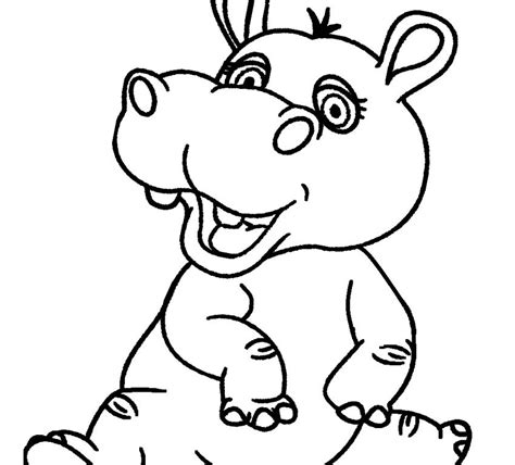 hippopotamus 27 animals printable coloring pages cartoon snorkeling hippo outlined coloring page pages free