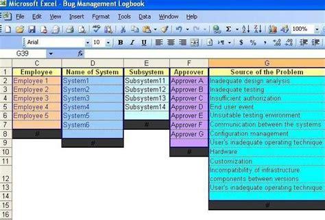 bug tracking spreadsheet window methoda computers