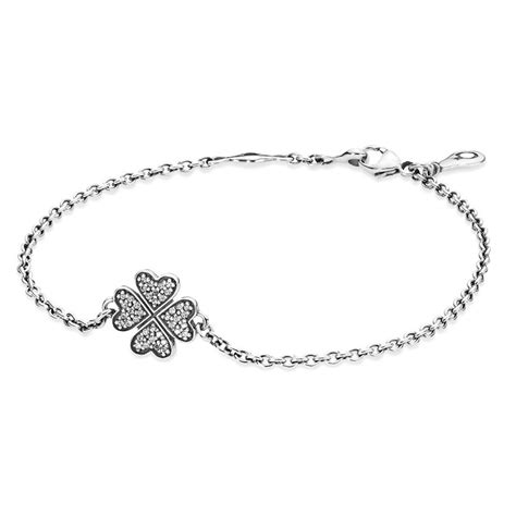 Clover Silver Pendant With Clear Cubic Zirconia And Neckla P 180 pandora pandora sterling silver cubic zirconia clover bracelet 590506cz pandoraaustralia coms