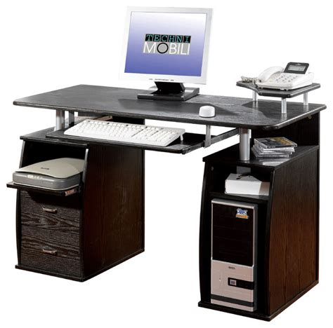 Expresso Computer Desk Techni Mobili Dual Pedestal Computer Desk In Espresso Modern Desks And Hutches By Beyond