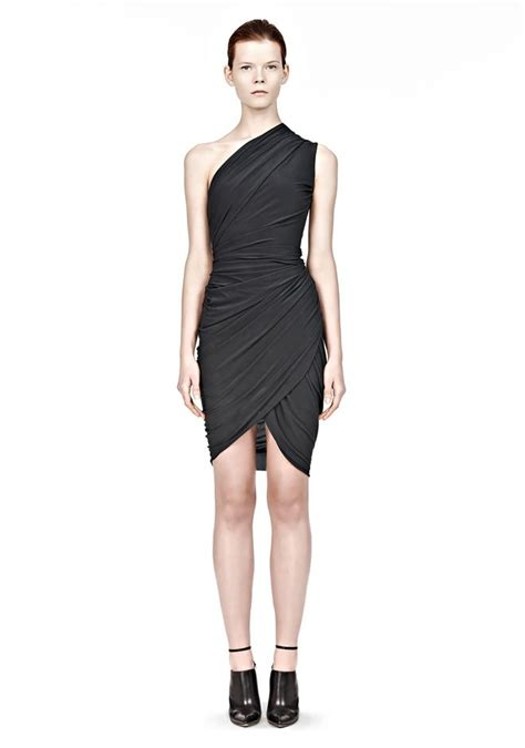 asymmetrical draped dress asymmetric one shoulder draped dress short dress