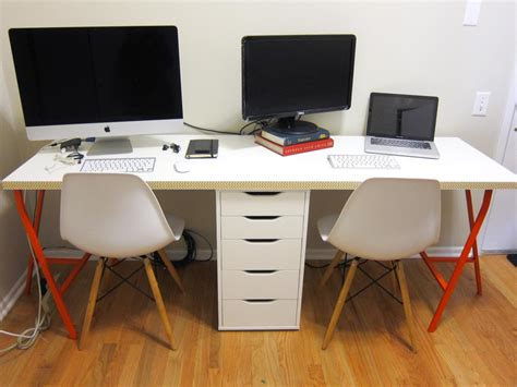 two person desk diy office makeover part 2 diy ikea linnmon desk for two