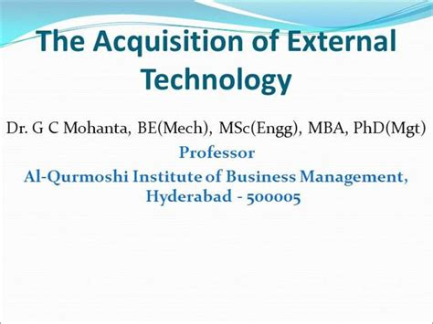Mba Acquisition by The Acquisition Of External Technology Authorstream