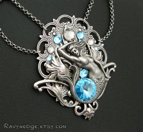 Mermaid Necklace aquatic mist necklace aquamarine swarovski and silver