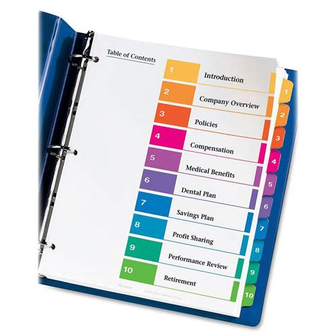 avery ready index customizable table of contents classic