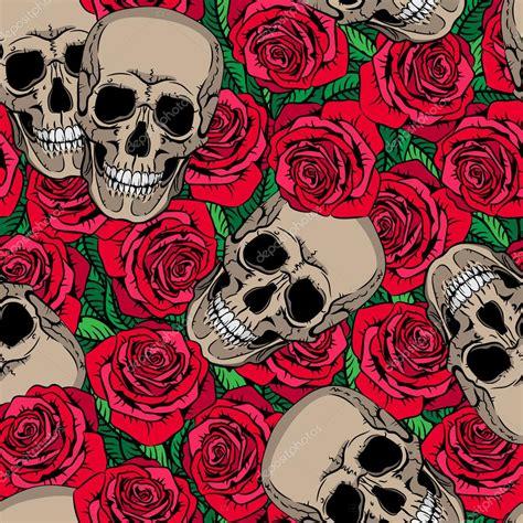 imagenes de rosas rojas vintage patrones sin fisuras con calaveras y rosas rojas archivo