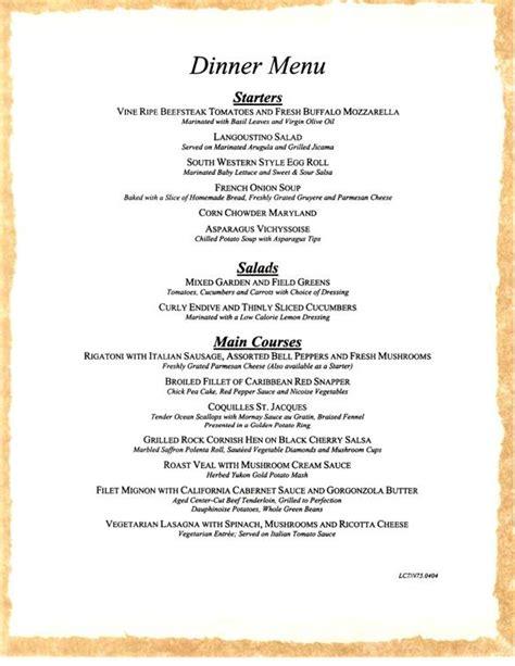 dinner menus carnival cruise sle dinner menu 4 carnival cruise