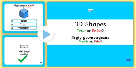 true or false cards template 3d shapes true or false powerpoint quiz 3d