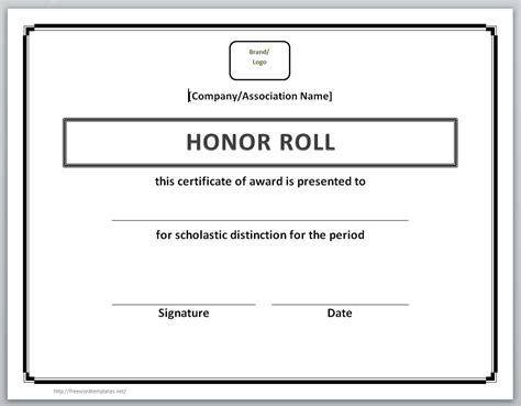 of honor card template 13 free certificate templates for word microsoft and