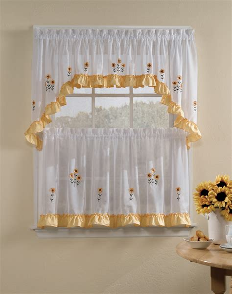 tiered kitchen curtains sunnyside 5 piece kitchen curtain tier set curtainworks com