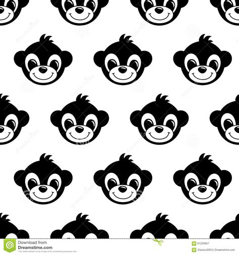 black and white pattern for babies seamless pattern background with monkeys symbol of 2016
