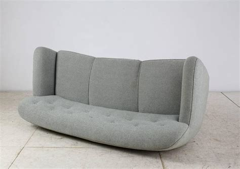 curved three seat sofa with light blue fabric upholstery denmark 1930s for sale at 1stdibs