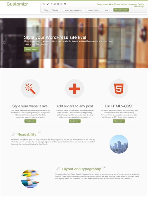 themes wordpress demo five free and ready to use twitter bootstrap themes for