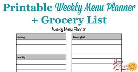 printable weekly menu planner template plus grocery list