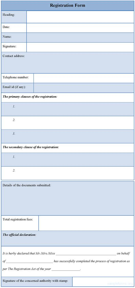 forms templates registration form template sle registration form