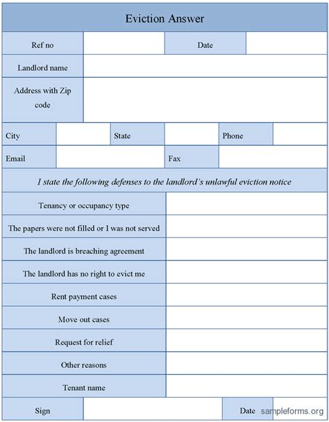 Response Letter To Eviction Notice Eviction Answer Form Sle Eviction Answer Form Sle Forms