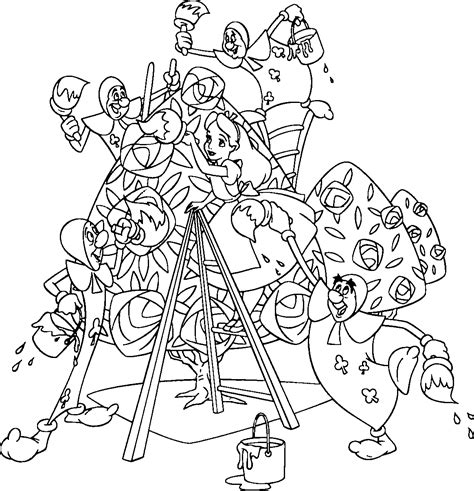 free coloring pages of disney alice wonderland