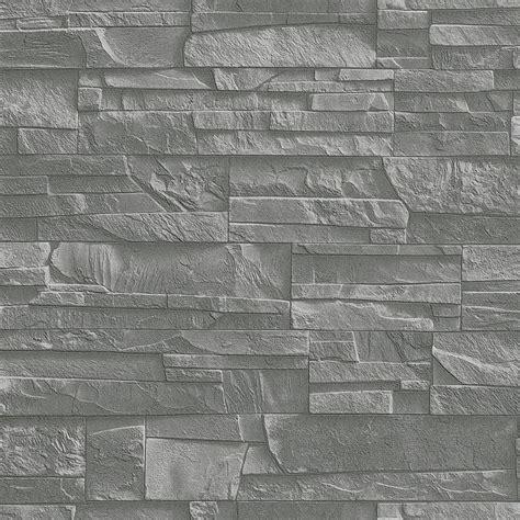 wallpaper grey slate rasch factory slate brick pattern stone faux effect