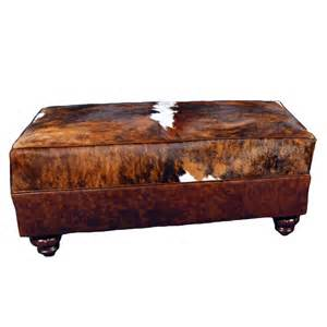 Western Ottomans Cowhide Large Ottoman