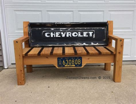 bench made from truck tailgate made with a 1950 chevy tailgate and an indiana 1963 truck