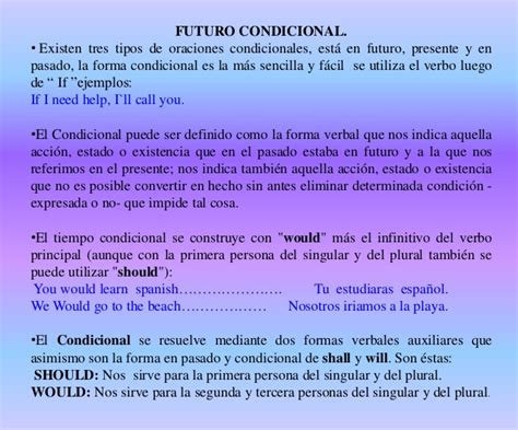 preguntas condicionales ingles futuro simple y condicional ingles