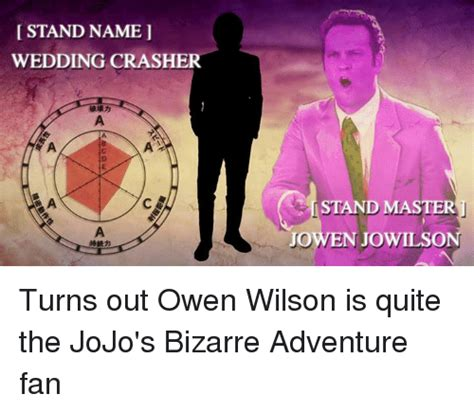 Wedding Crashers Names by Stand Name Wedding Crasher A A A C I Stand Master A Jowen