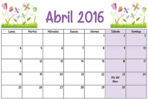Abril Calendario Abril Calendario Escolar 2015 2016 Para Imprimir