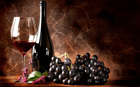 wine grapes glass wallpaper