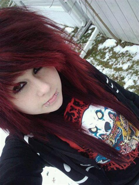 emo hairstyles for middle schoolers sweater emo pull pullover girl red hair red black