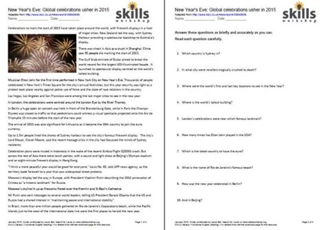 free printable reading comprehension worksheets ks3 new year 2015 comprehension skills workshop