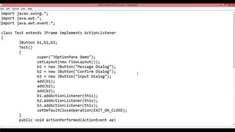 swing show dialog joptionpane demo message dialog confirm dialog input