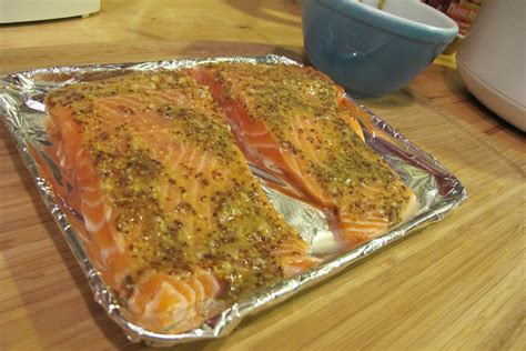 salmon in oven what s for dinner gt baked garlic mustard salmon grease gets crafty