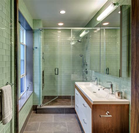 glass subway tile bathroom green glass subway tile bathroom midcentury with double