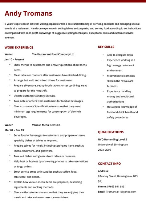 waitress resume template waitress resume exle 12 waiter cv and template