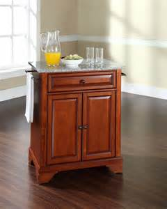 Cherry Kitchen Islands by Crosley Furniture Lafayette Solid Granite Top Portable