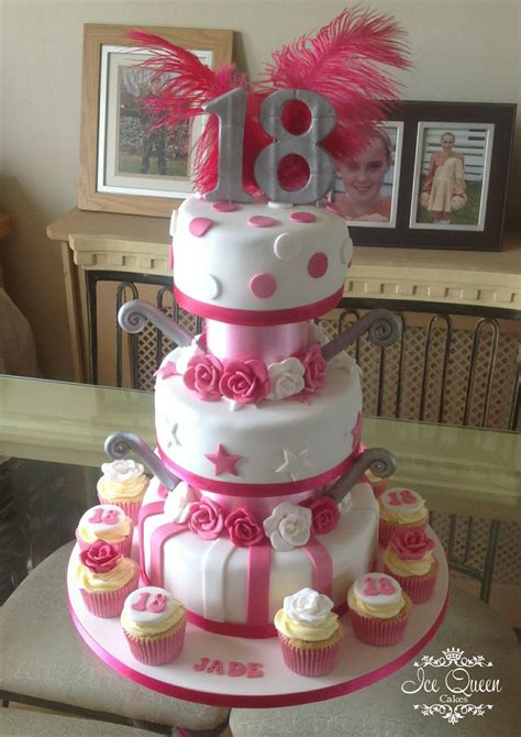 Tier  Ee  Th Ee    Ee  Birthday Ee   Cake In Pink White Silver With