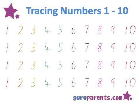 Tracing Numbers 1 10 Worksheets Kindergarten by Preschool Worksheets Numbers 1 20 Images