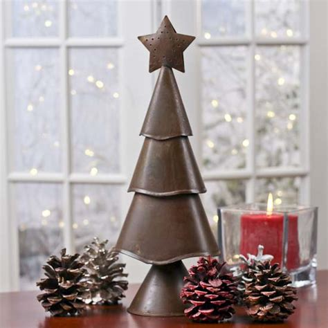 primitive rusty tin christmas tree home decor