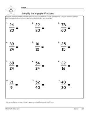 9 worksheets on how to simplify fractions worksheets