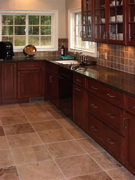 Tile Ideas For Kitchen Floor Cherry Kitchen Cabinets Kitchens With Grey Floors Kitchen Tile Floors With Cherry Cabinets
